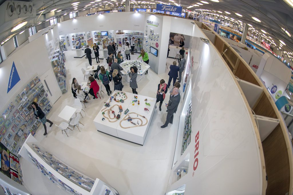 Shot taken with a camera pole from about 25 foot.  The Ravensburger stand at the Toy Fair in Olympia, 2019.